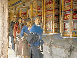prayer wheels in the monastery courtyard
